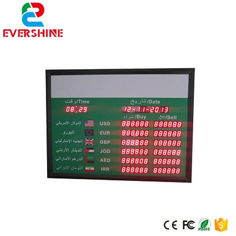 Arabic 1.0 Red Digit Display Indoor LED Money Exchange Rate Board Usage for Bank led display 1 sign red digit number board indoor led exchange rate board language for kazakhstan