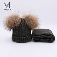 YWMQFUR Real Raccoon Fur Pompoms Autumn Winter Hat Scarf For Kids Casual Solid Color Knitted Beanies