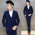 Nova! Coreano vestuário de homem magro cor sólida ternos de três peças masculino moda Nightclub stage trajes vestido formal VSTINUS M-2XL