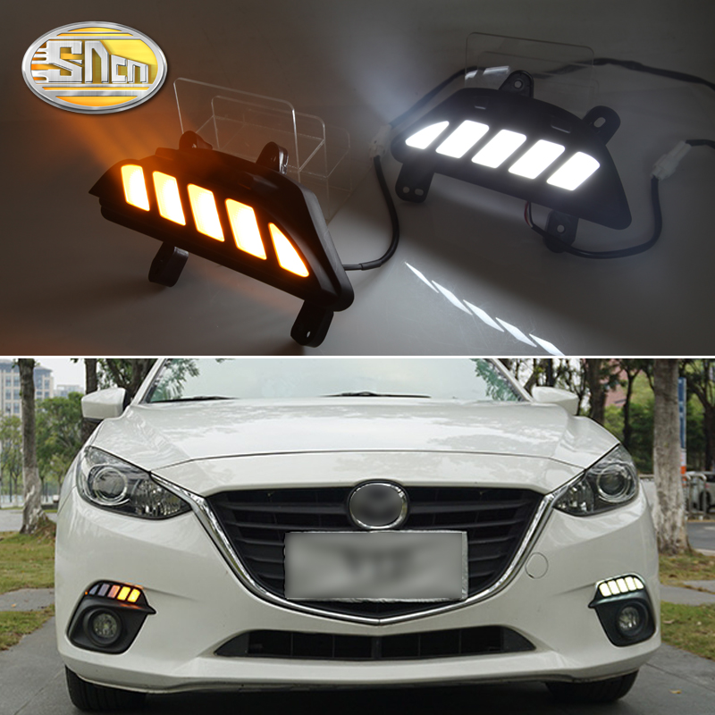 2PCS LED Daytime Running Light For Mazda 3 Axela 2014 2015 2016 Flowing Turn Signal Function