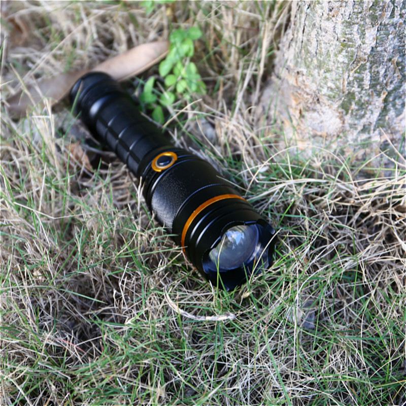 Купить с кэшбэком Hidden Draw Camping Light 10W xml T6 LED Flashlight Warning 5 Modes Light Tactical Flashlight Torch Lotus Attack 18650 Lantern