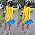 Atractivo de Las Señoras Vestidos de Las Mujeres de la Moda de Invierno Suelta Primavera Partido de Manga Larga Corta Mini Vestido Breve Amarillo