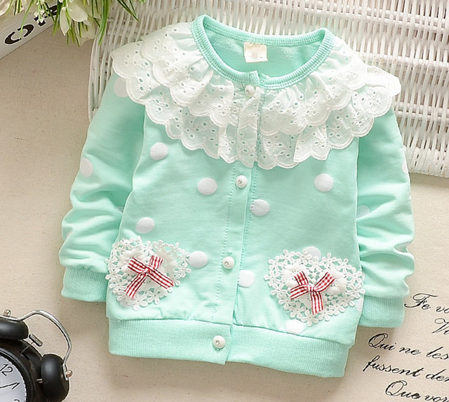 Baby Girls Coat New Autumn Spring Cardigan Tops Kids Lace Collar Jacket Outerwear Coat Children Clothes Newborn Wear 0-2 years