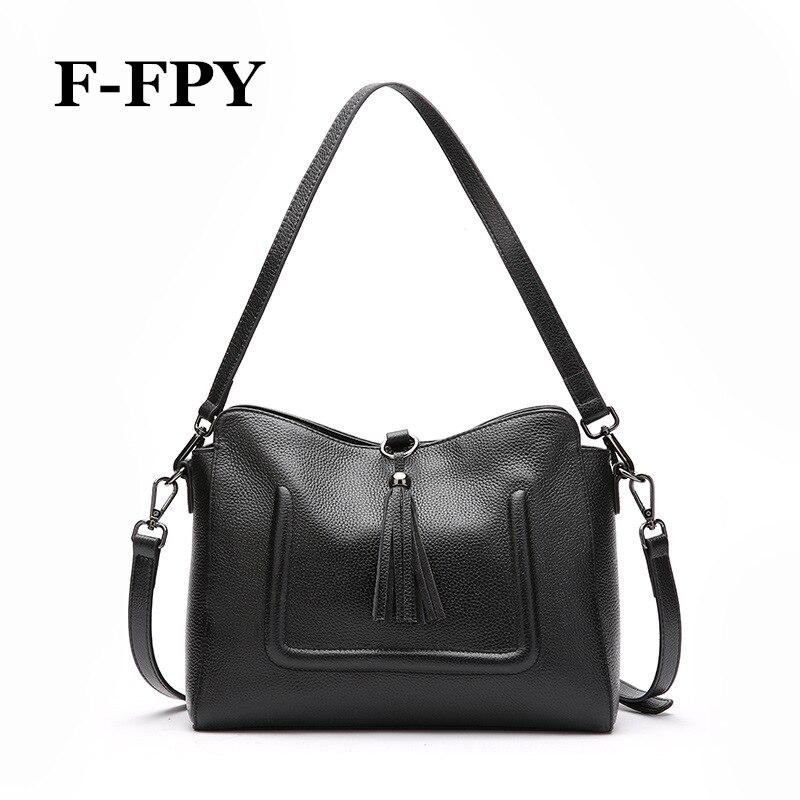 F-FPY New Fashion Women Handbag Soft Real Genuine Leather Tassel Casual Totes Bag Ladies Shoulder Bag Messenger Purse Satchel