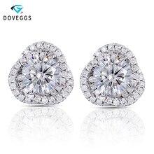 DovEggs Flower Shaped Halo Stud Earrings 14K White Gold Cneter 1ct 6.5mm F Color Moissanite Diamond Earrings for Women Wedding
