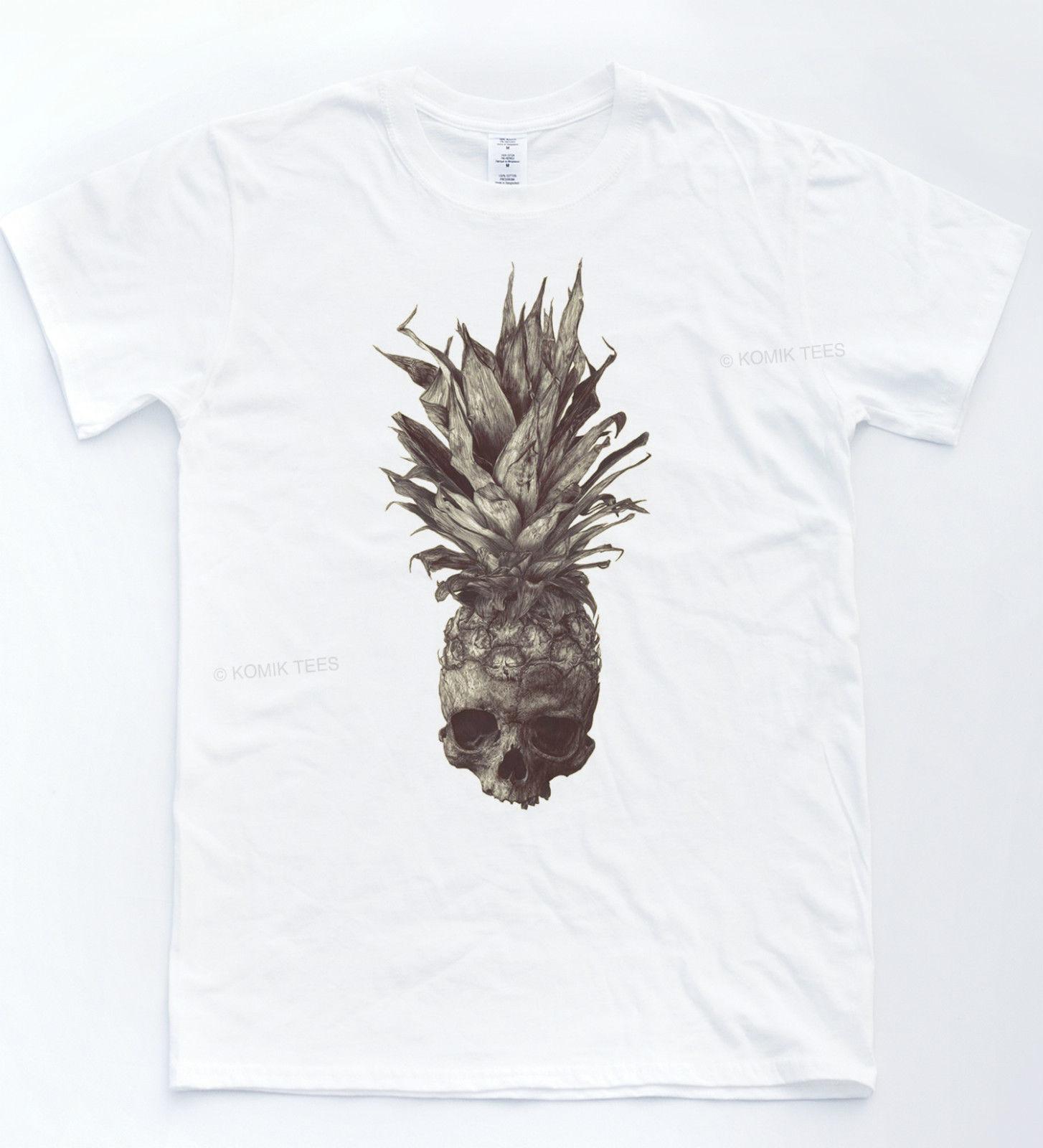 Skeletton Pineapple Indie T-shirt Sketch Drawing Tumblr Tee Vintage Sepia Top