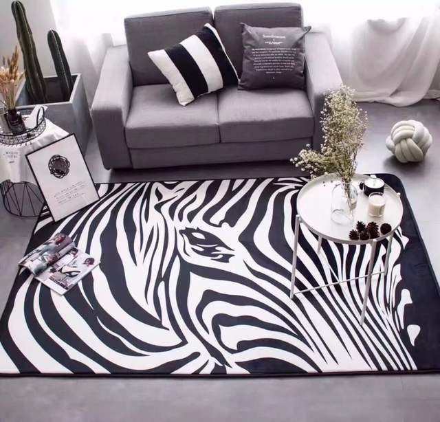 Carpet Mats Zebra Black And White Bedroom Rug Living Room Guest Sofa Bed Parlor Tapetes Large Size Fashion