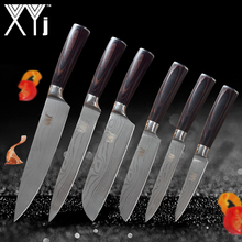 XYj Kitchen Knives Stainless Steel Knife 3.5, 5, 5, 7, 8, 8 inch Exquisite Color Wood Handle Fruit Vegetable Meat Cooking Tools