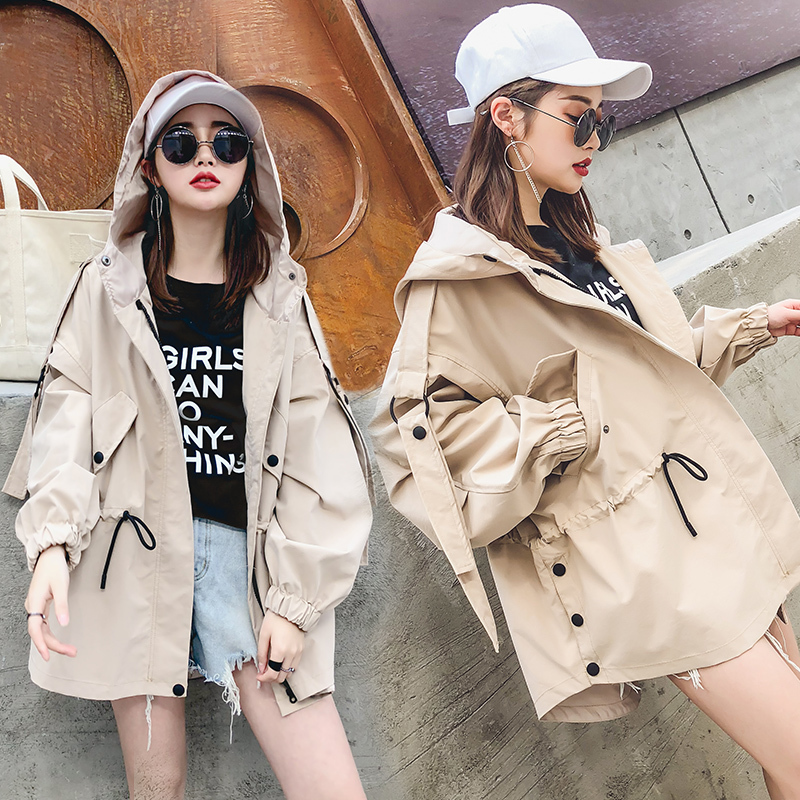 2018 Women   Basic     Jacket   Plus Size Casual Loose Long Sleeve Hooded   Jacket   Windbreaker Spring Autumn befree Women Coat Top QJ001