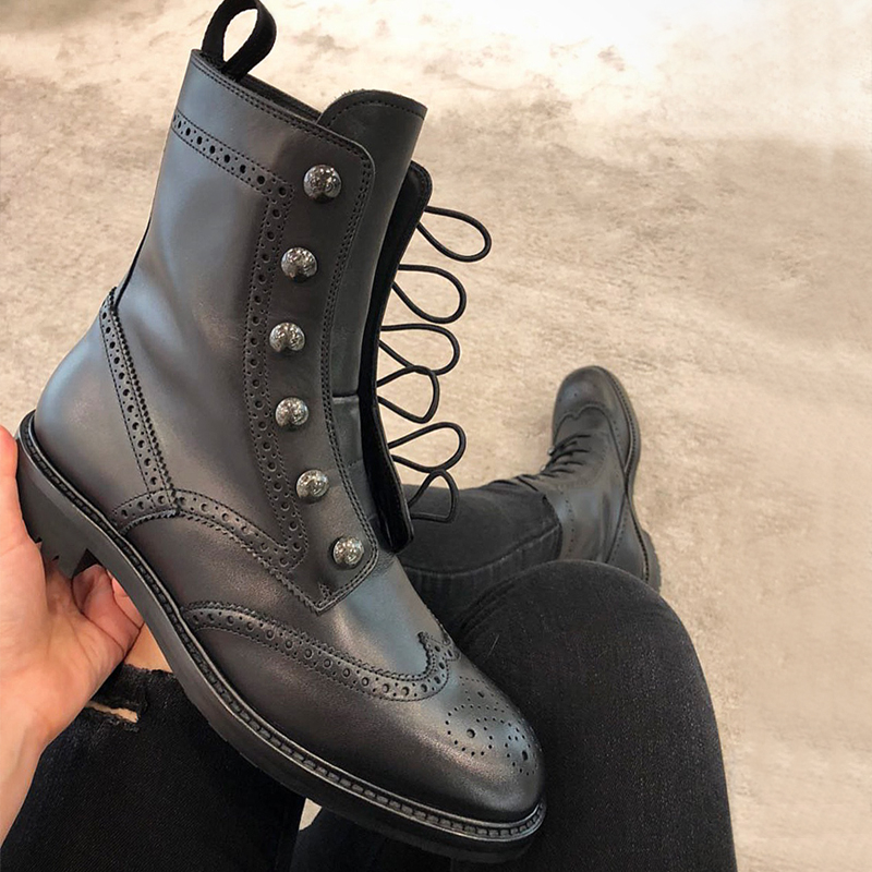 2018 Genuine Leather Black Women Ankle Boots Lace Up Fashion Chelsea Boots for women botas hunter
