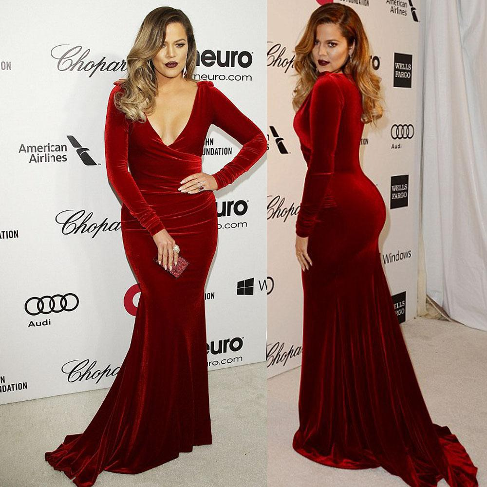 Khloe Kardashian Wedding Dress: Elegant Velvet Prom Gown Mermaid V Neck Long Sleeve Floor