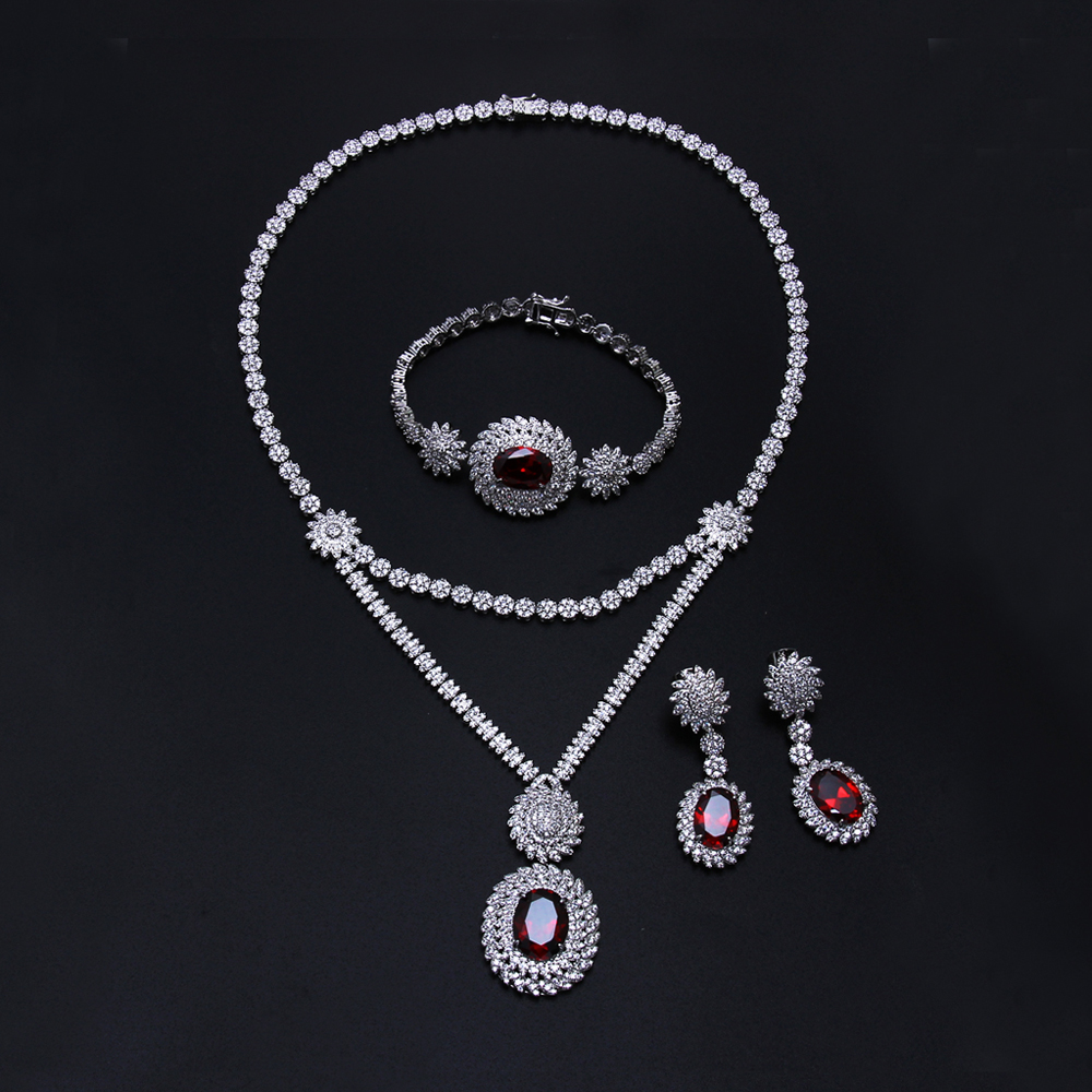 New design Women wedding Jewelry Sets setting cz stone 4pcs sets necklace bracelet earrings ring free