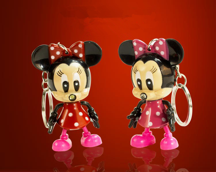 Cartoon Mickey Mouse LED Keychain with Flashlight & Sound keyring for gifts pendant /Min ...
