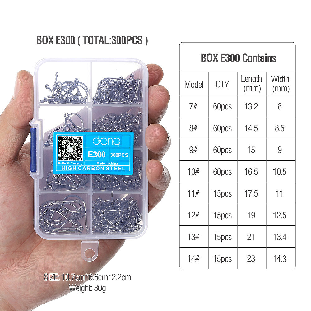 DONQL 300pcs/Box High Carbon Steel Fishing hooks Mixed Size Barbed jig hook Carp Fishing Jig Head for Fly fishing Accessories