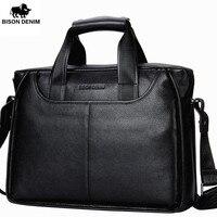 BISON DENIM Mens Genuine Leather Business Briefcase 14 Soft Cowhide Messenger Bag