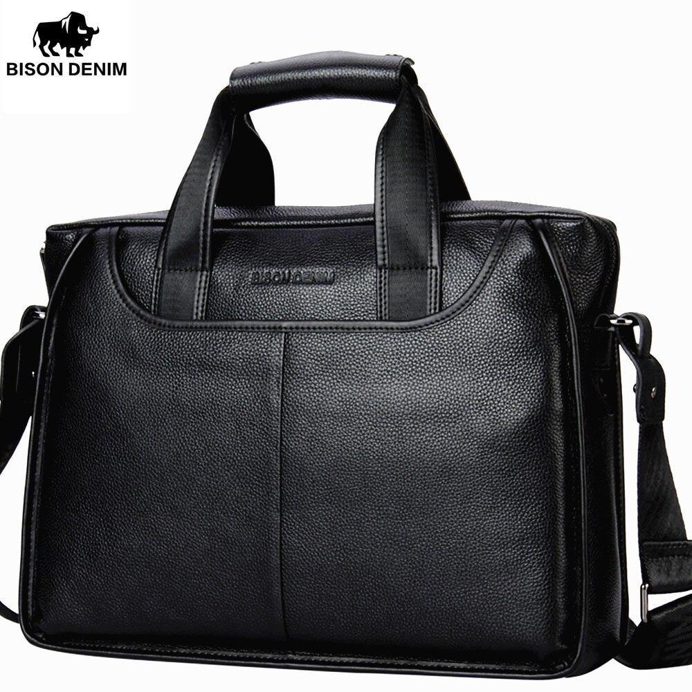 BISON DENIM Genuine Leather Guarantee Briefcase Men Bag 14 inch Laptop Soft Cowhide Messenger Bag Handbag Bag Business N2237-3 все цены