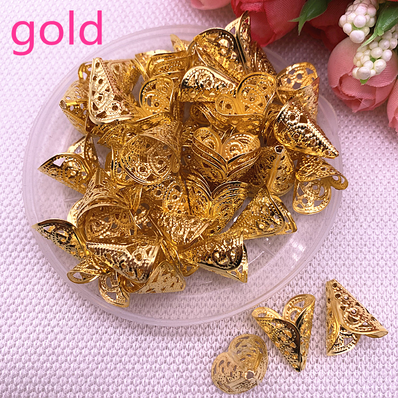 50pcs Hollow Flower Findings Cone End Beads Cap Filigree DIY Jewelry Making