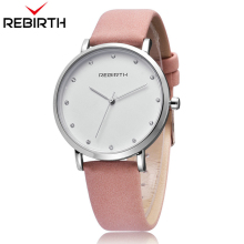 REBIRTH Analog Quartz Women Watches Fashion Ladies Leather Bracelet Wristwatches Horloge Dames Moda Mujer 2018 with Gift Box