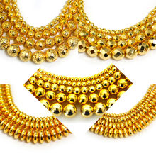 40cm Hematite Beads 3/4/6/8/10mm Gold Round/Oval/Faceted Flat/Lava Loose Bead for DIY Necklace Earring Jewelry Making Findings(China)