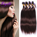 8A Pelo Virginal Brasileño paquetes de pelo humano #2 Brown Oscuro recto pelo estilo 4 unids 100% Del pelo recto Brasileño Weave Bundles