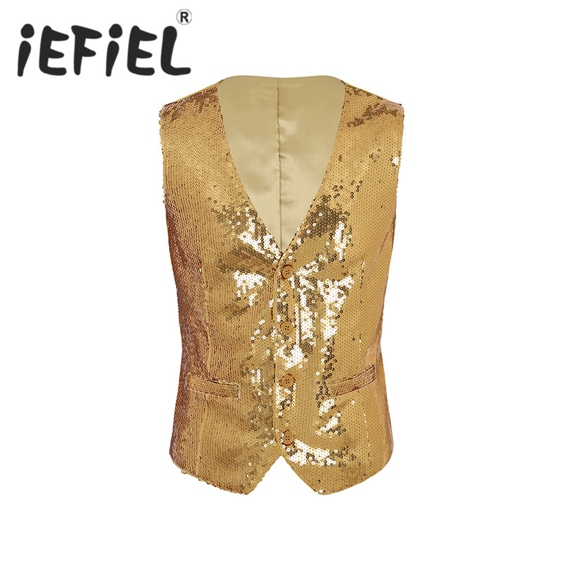 Mens Party Wedding Clothes Slim Fit Shiny Sequins Suit Vest V-Neck Button Down Formal Business Dress Suit Separate Waistcoat