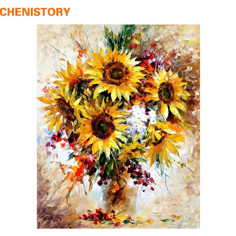 CHENISTORY Bild Sonnenblume Bunte DIY Malerei Durch Zahlen Kits Acryl Bild Moderne Wand Kunst Hand Gemalt Für Wohnkultur