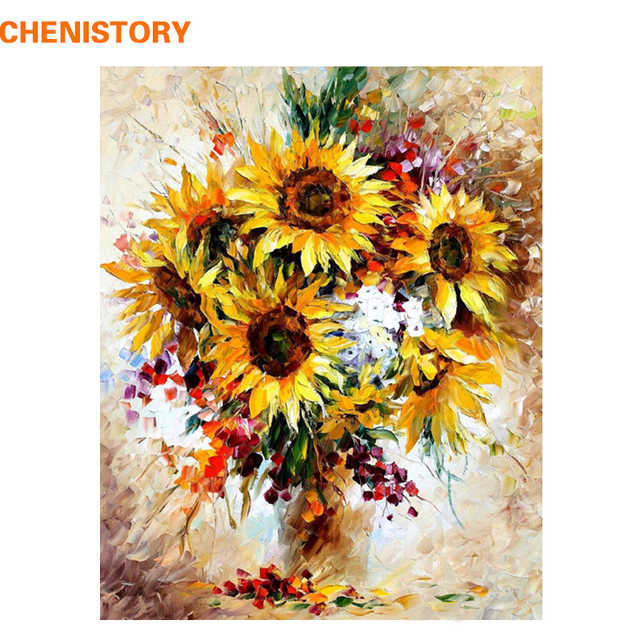 CHENISTORY Picture Sunflower Colorful DIY Painting By Numbers Kits ...