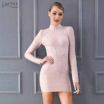 Bodycon Bandage Dress Apricot Long Sleeve Mini Dress Vestidos Clubwear Celebrity Evening Party Dress