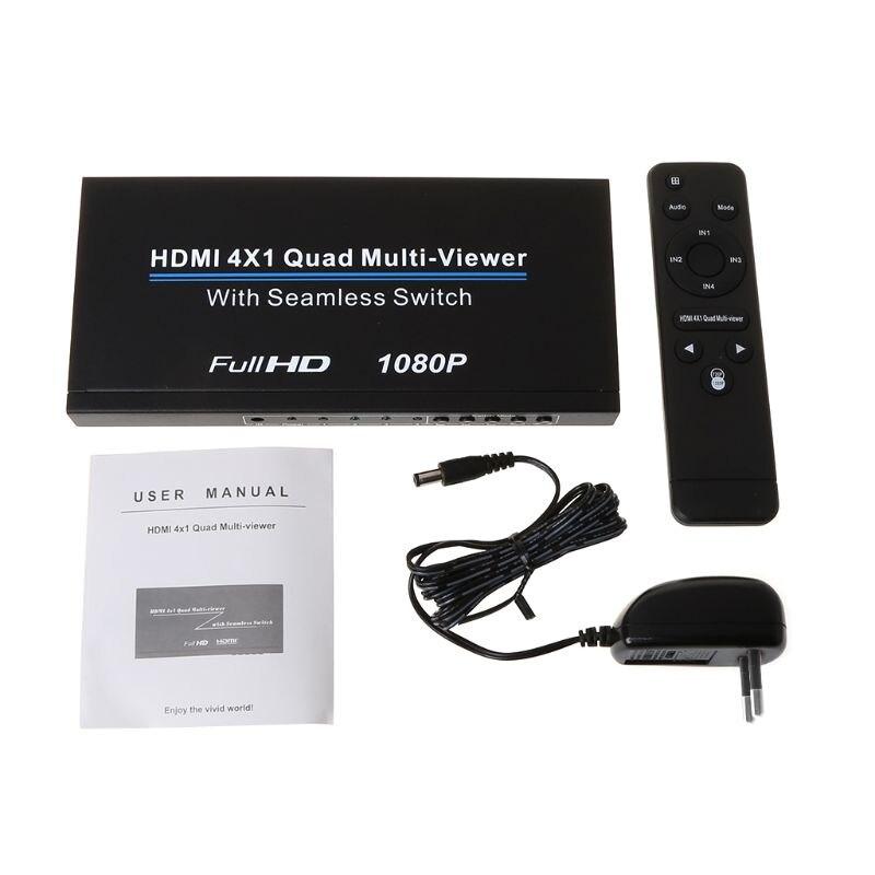 HDMI 4x1 Quad Multi viewer Full 1080p Switcher Seamless Multiviewer Switch IR Screen Splitter Converter