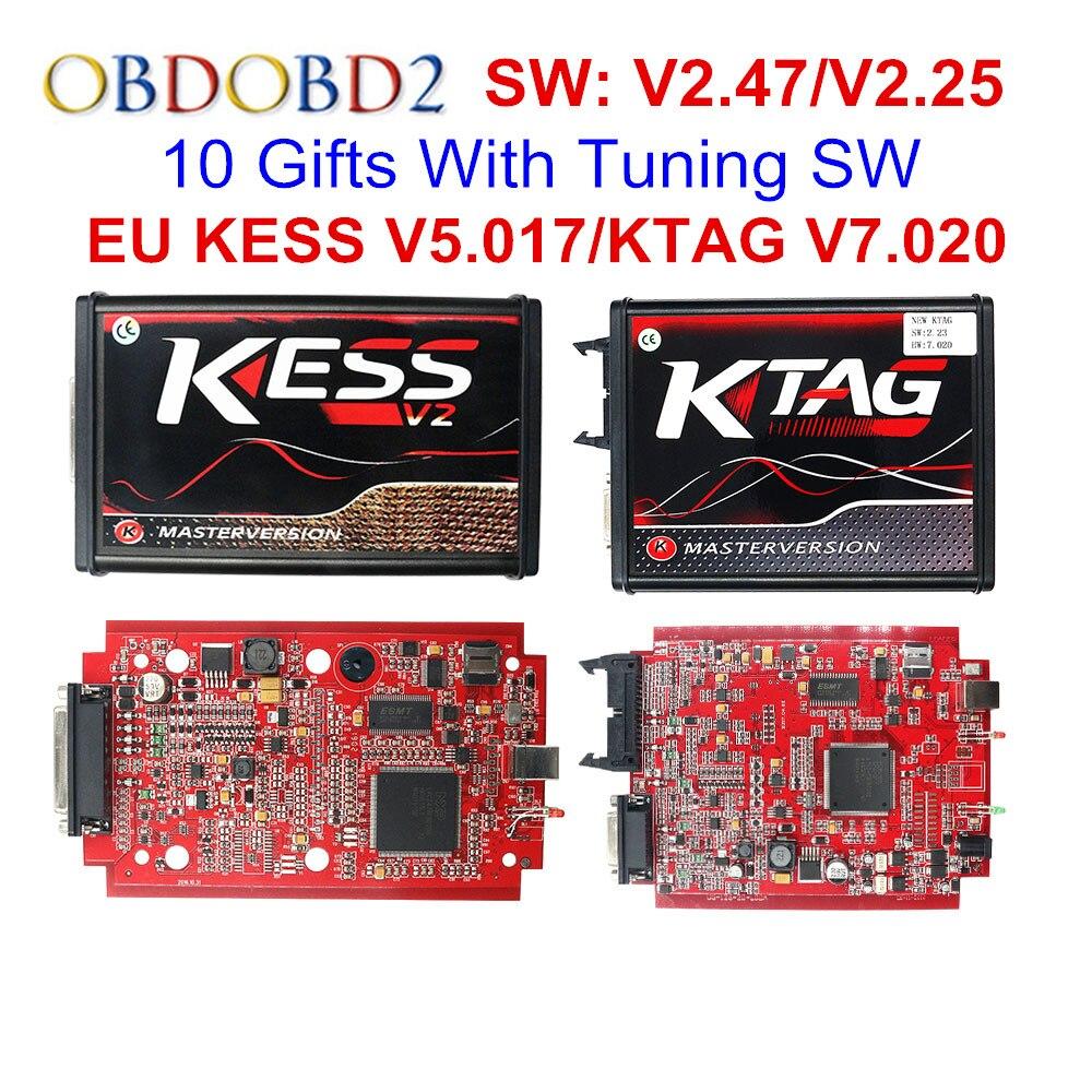 V2.47 Online EU Rot KESS V2 5,017 Volle Master OBD2 Manager Tuning KESS V5.017 4 LED KTAG V7.020 BDM Rahmen k-TAG 7,020 ECU Chip