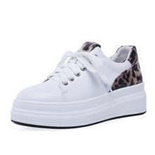 Vulcanized Shoes Women Lace Up Cow Leather Wedges Platform Tennis Shoes 2019 Low Top Trainers Walking Sneakers Casual Oxfords krazing pot cow suede lace up superstar round toe sneakers thick bottom platform wedges handmade mixed color vulcanized shoe l87