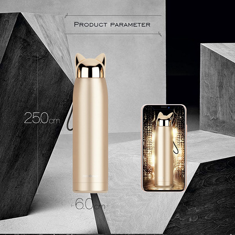 Double Wall Insulated Thermal Flask with Cute Cat Ear Design Lid for Hot Water and Milk during Travel 5