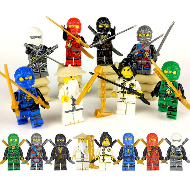 8Pcs NINJA WU Lloyd Zane Kai Cole Jay NYA Hero Building Block Movie Action Toy Bricks NinjagoINGly Figure Set