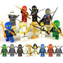 Conjunto de 8 Uds ninja Wu Lloyd Zane Kai Cole, Jay NYA Hero, bloques de construcción, película de acción de juguete, figura ninjahingly