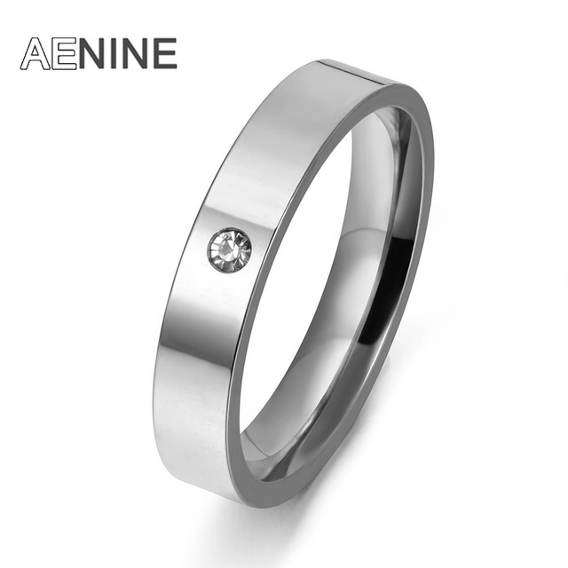 AENINE Top Luxury Rhinestone Finger Ring High Quality 316L Stainless Steel Wedding Ring Female Engagement Jewelry R171530033P