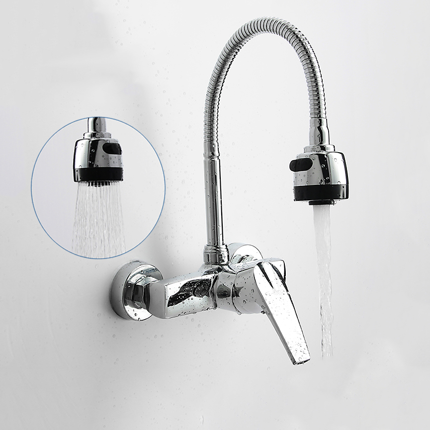 Wall Mounted Double Holes Flexible Kitchen Faucet Mixers Sink Tap ...