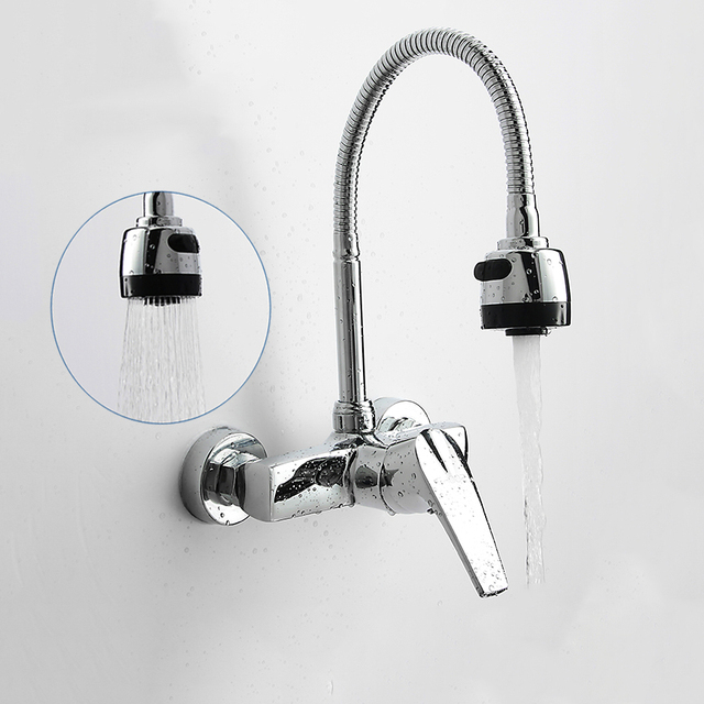 Superbe Wall Mounted Double Holes Flexible Kitchen Faucet Mixers Sink Tap Wall  Kitchen Faucet Hot And Cold