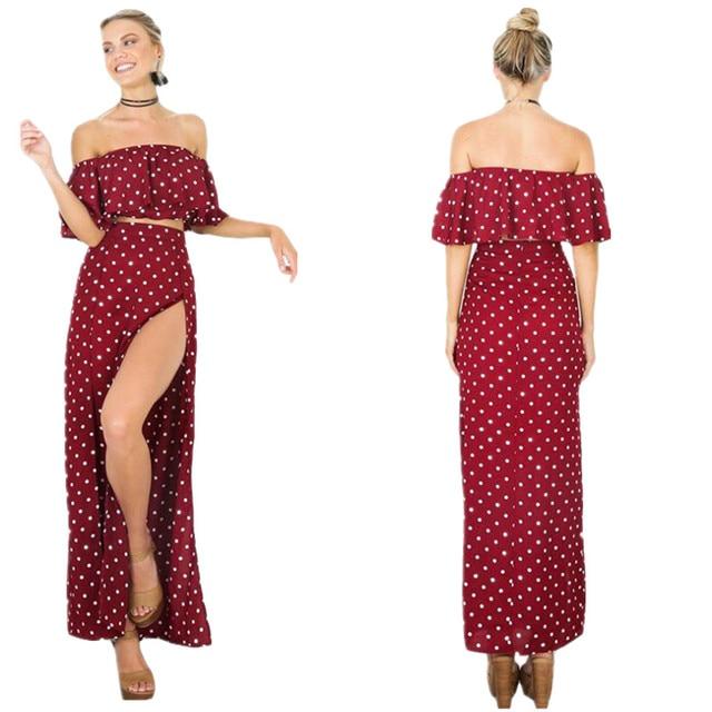 d7130005ebc Fashion Ladies 2 Pcs Polka Dots Matching Set Slash Neck Off Shoulder Crop  Top +Sexy
