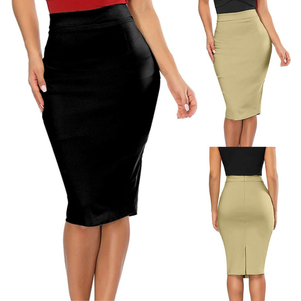 Womail Women skirt Summer Fashion Elastic High Waisted Pencil Skirt Stretch Bodycon Below Knee Skirt Casual 2020 dropship f9