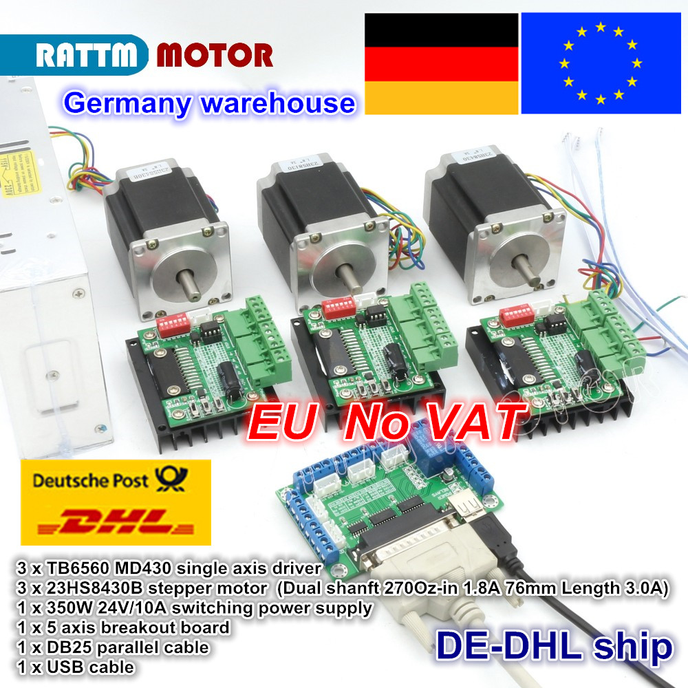 3 achsen CNC Router Kit 3 stücke 1 achse TB6560 fahrer & interface board & 3 stücke Nema23 270 Unzen -in stepper motor & 350 watt netzteil