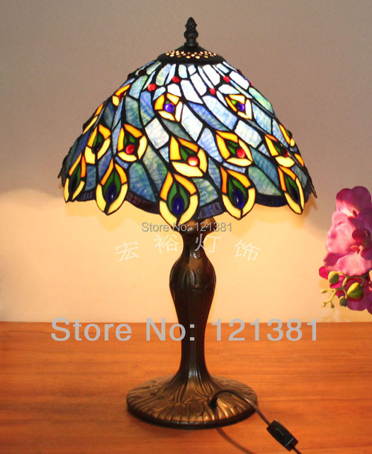 Tiffany Style Peacock Tail Table Lamp Bedroom Bedding Lamp Stained
