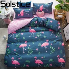 Solstice High-quality Blue Flamingo Bedding Sets Princess Set King Queen Full Twin Size Sheet Pillowcase Duvet Cover