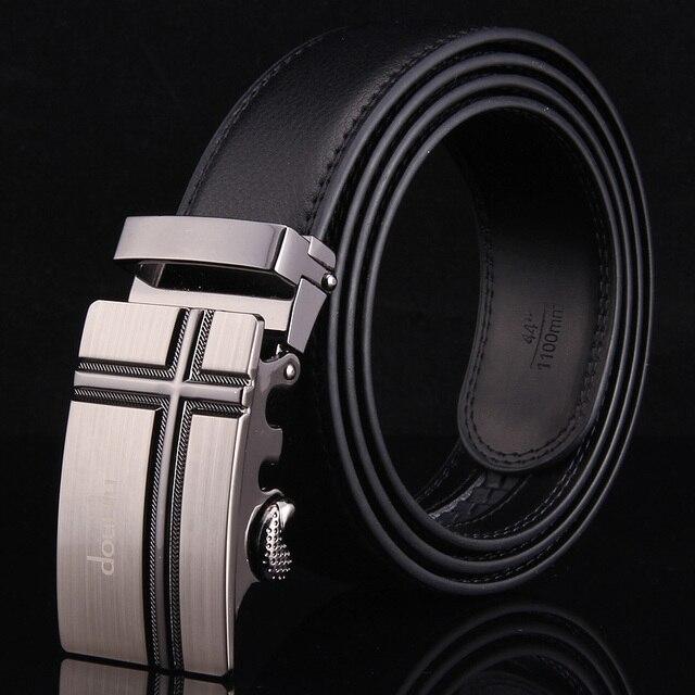 New Leather Belt Men Automatic Black Brown Luxury Famous Brand Cinta Modeladora Jeans Men 110cm-130cm Belt Correas Para Hombre