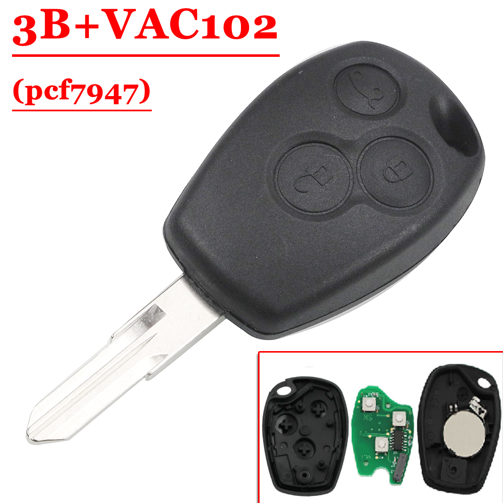 Alarm Systems & Security Automobiles & Motorcycles 3 Button Pcf7947 Chip Remote With Vac102 Blade For Renault Duster Modus Clio 3 433mhz To Ensure A Like-New Appearance Indefinably
