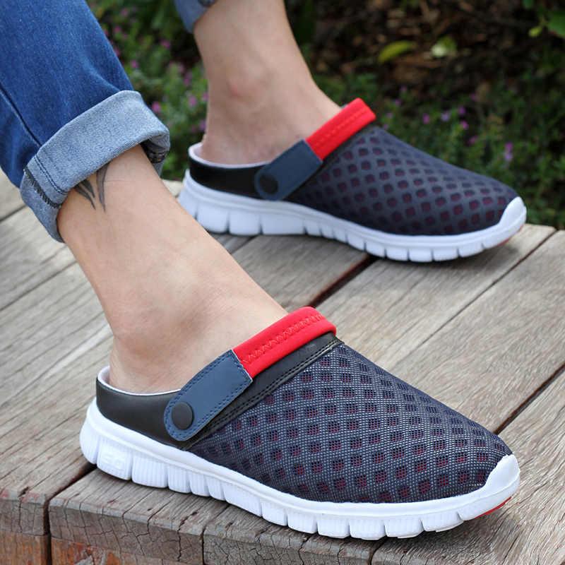 Yaz ayakkabı erkekler sandalet renkli çiftler plaj terlikleri erkekler Sneakers takunya erkekler nefes Sandalias Zapatos Hombre boyutu 36-46
