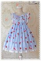 Girls Lovely Cherry Chiffon Print Lolita Dressed High waist JSK Sweet Daily Dress Pink/Blue