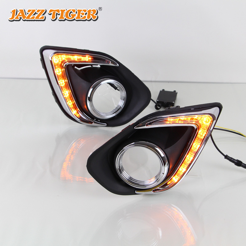 JAZZ TIGER 2PCS Yellow Turn Signal Function 12 Car Driving Lamp DRL LED Daytime Running Light For Mitsubishi ASX RVR 2013 - 2015