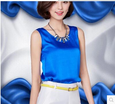 Mulheres blusas de verão 2016 nova casual chiffon blusa de seda sem mangas fino O-pescoço blusa feminina tops camisas sólidos 14 cores