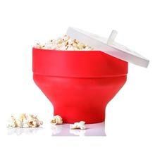 2020 neue Popcorn Mikrowelle Silikon Faltbare Rot Hohe Qualität Küche Easy Tools DIY Popcorn Eimer Schüssel Maker Mit Deckel cheap CER EU ND-B21 Schale Auf Lager Umweltfreundlich SILICONE Fest
