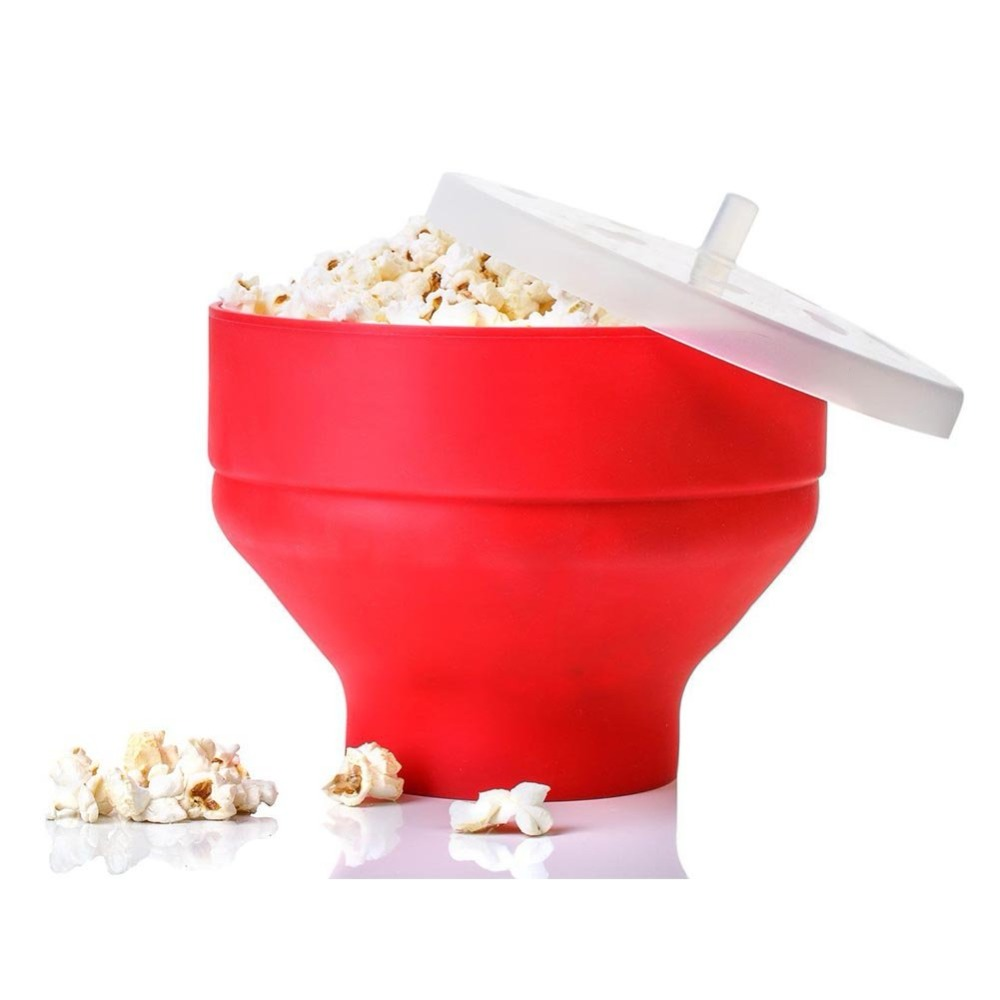 2021 New Popcorn Microwave Silicone Foldable Red High Quality Kitchen Easy Tools DIY Popcorn Bucket Bowl Maker With Lid